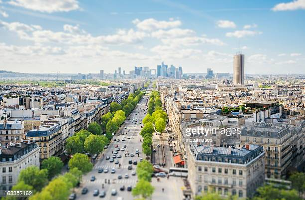 paris cityscape - tilt-shift - place charles de gaulle paris stock photos and pictures