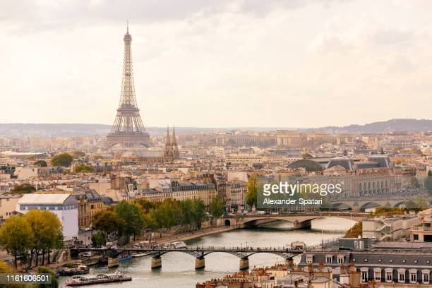 paris cityscape with eiffel tower and seine river, high angle view - paris stockfoto's en -beelden