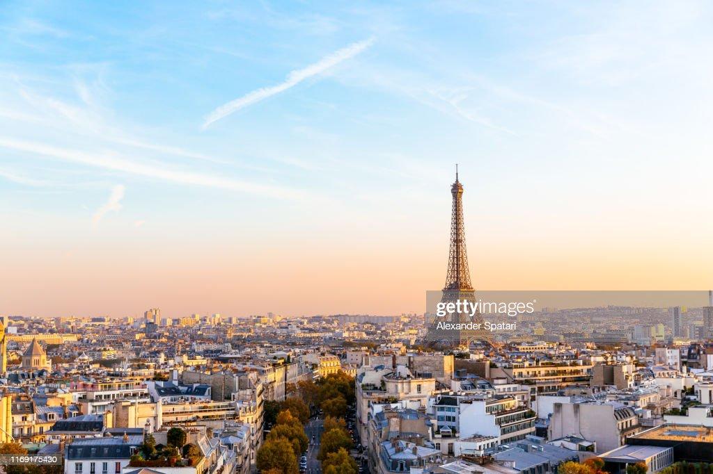 Paris cityscape with Eiffel Tower at sunset, Ile-de-France, France : Photo