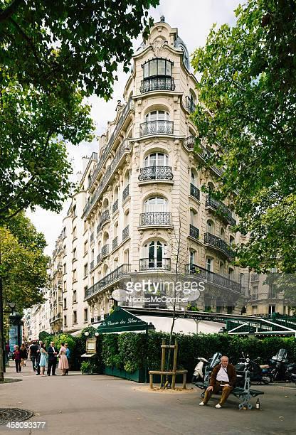 Paris corner building with restaurant