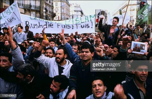 Paris demonstration against Salman Rushdie for his book The Satanic Verses in Paris France in November 1989