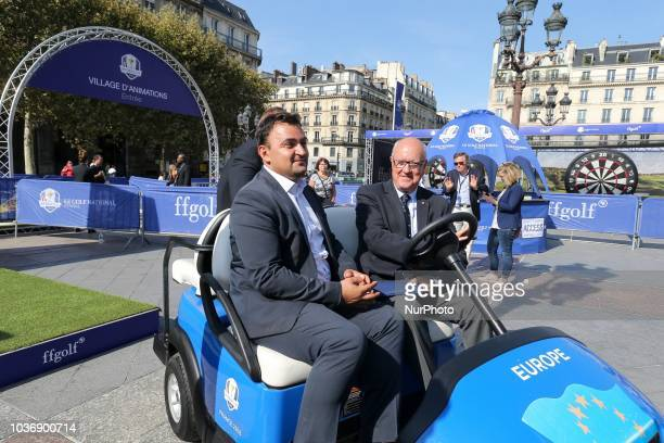 Paris' Deputy Mayor in charge of Sport and Tourism JeanFrancois Martins and the President of French Golf Federation JeanLou Charon inaugurate a golf...