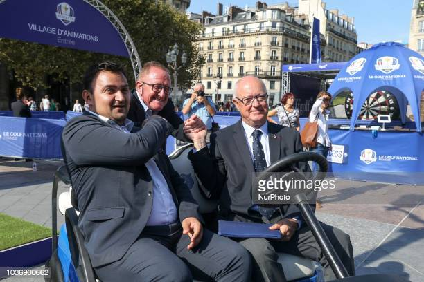 Paris' Deputy Mayor in charge of Sport and Tourism JeanFrancois Martins Ryder Cup Director Richard Hills and the President of French Golf Federation...