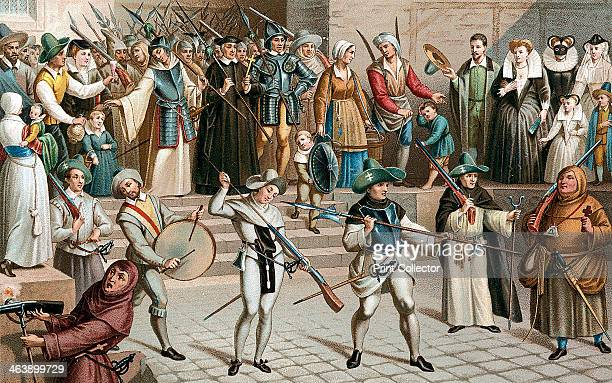 Paris during the League 1590 Illustration based on pictures of the Procession of the League 24 May 1590 It shows typical soldiers and civic guards...