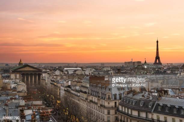 Paris Eiffel tower skyline sunset