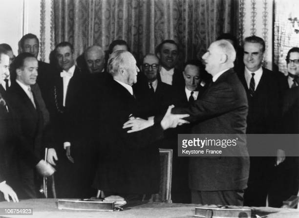 Paris, Elysee Palace, Embrace Between General De Gaulle And Konrad Adenauer After The Signature Of The Treaty Of Cooperation Between France And...