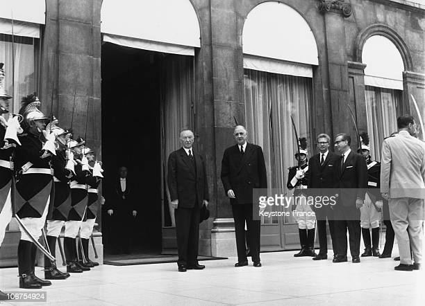 Paris, Elysee Palace, French President General De Gaulle And Chancellor Konrad Adenauer In 1963