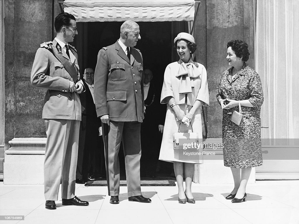 Paris, Elyseee Palace, General Charles De Gaulle And Wife With King Baudoin Of Belgium And Queen Fabiola In May 1961