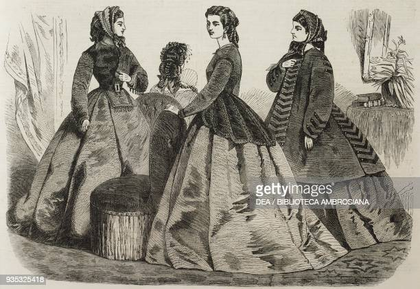 Paris fashion for January 1865 models of women's clothing illustration from the magazine The Illustrated London News volume XLV November 26 1864