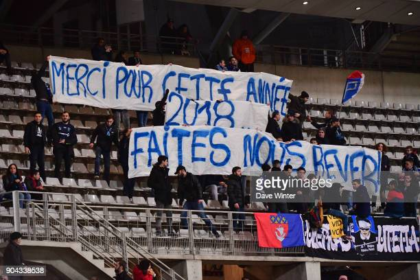 Paris FC fans during the Ligue 2 match between Paris FC and Bourg en Bresse at Stade Charlety on January 12 2018 in Paris France