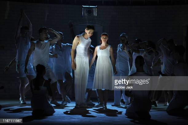 Paris Fitzpatrick as Romeo and Cordelia Braithwaite as Juliet with artists of the company in Matthew Bourne's Romeo And Juliet at Sadler's Wells...