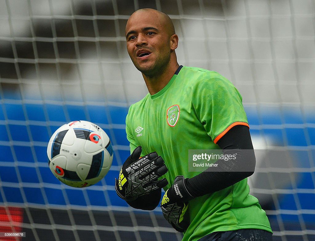Paris , France - 12 June 2016; Darren Randolph of Republic of Ireland during squad training at the Stade de France in Saint Denis, Paris, France.