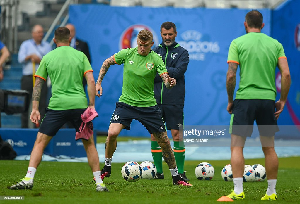 Paris , France - 12 June 2016; James McClean of Republic of Ireland during squad training at the Stade de France in Saint Denis, Paris, France.