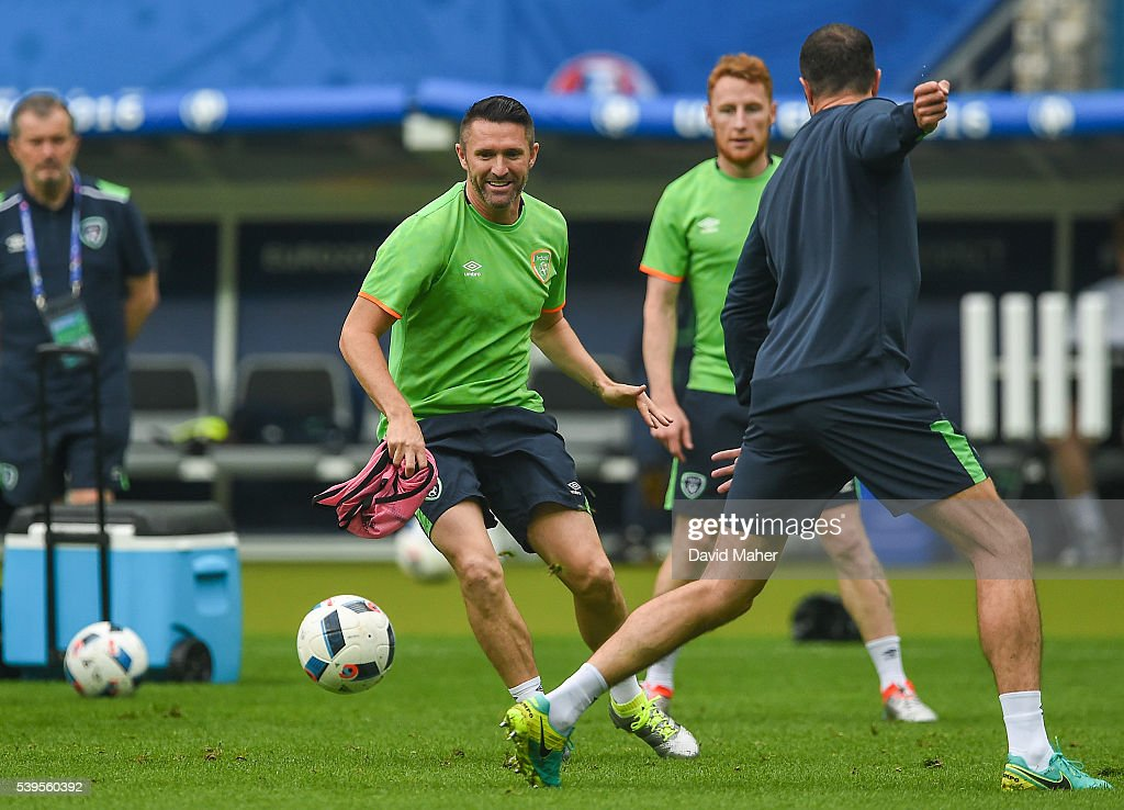 Paris , France - 12 June 2016; Robbie Keane of Republic of Ireland during squad training at the Stade de France in Saint Denis, Paris, France.