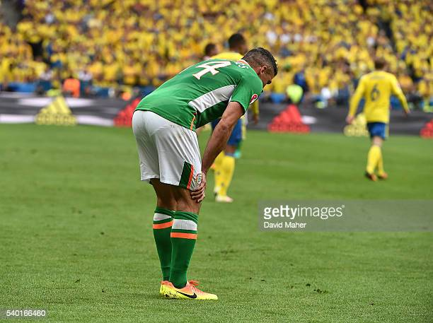 Paris France 13 June 2016 Jon Walters of Republic of Ireland before been substituted against Sweden due to an injury in the UEFA Euro 2016 Group E...