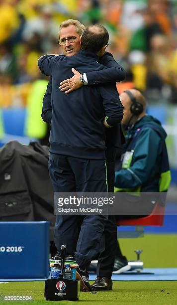 Paris France 13 June 2016 Republic of Ireland manager Martin O'Neill left and Sweden manager Erik Hamrén embrace after the UEFA Euro 2016 Group E...