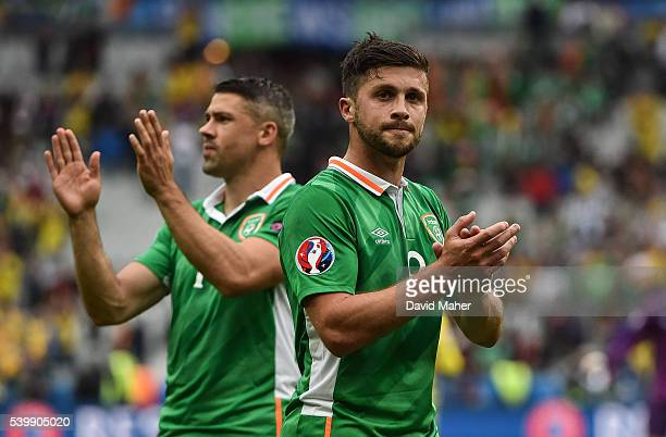 Paris France 13 June 2016 Shane Long right and Jon Walters of Republic of Ireland acknowledges the supporters after the UEFA Euro 2016 Group E match...