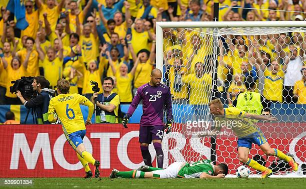 Paris France 13 June 2016 Sweden players celebrate after Ciaran Clark of Republic of Ireland scored an own goal during the UEFA Euro 2016 Group E...