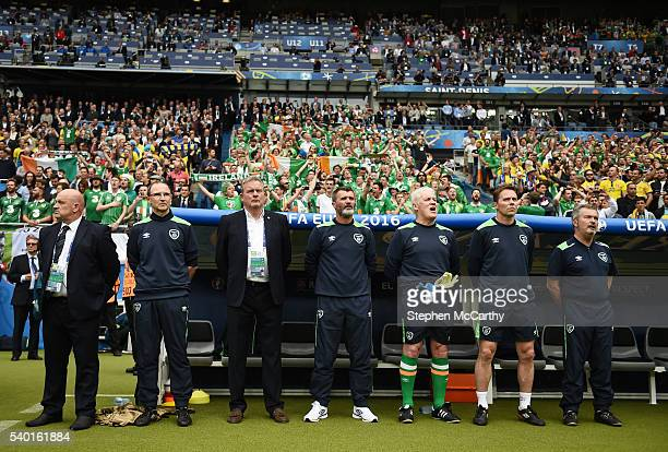Paris France 13 June 2016 The Republic of Ireland bench from left head security officer Bobby Ward manager Martin O'Neill coach Steve Walford...