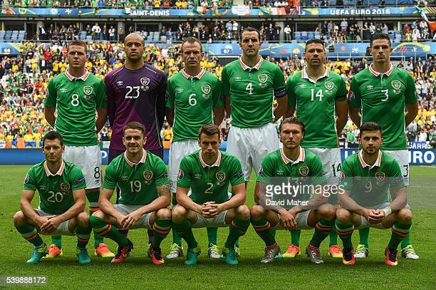 Paris France 13 June 2016 The Republic of Ireland team back row from left to right James McCarthy Darren Randolph Glenn Whelan John O'Shea Jon...