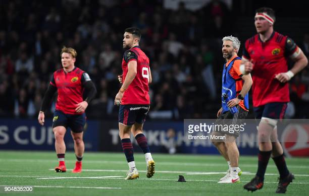 Paris France 14 January 2018 Conor Murray of Munster along with teammates Chris Cloete and Peter OMahony watch as his penalty hits the post during...
