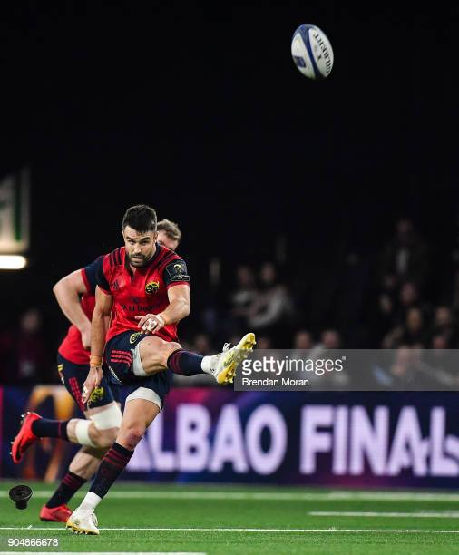 Paris France 14 January 2018 Conor Murray of Munster kicks a penalty during the European Rugby Champions Cup Pool 4 Round 5 match between Racing 92...