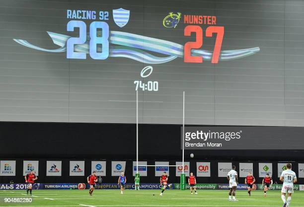 Paris France 14 January 2018 Munster scrumhalf Conor Murray kicks a penalty to give his side a 3028 lead with 6 minutes to play during the European...