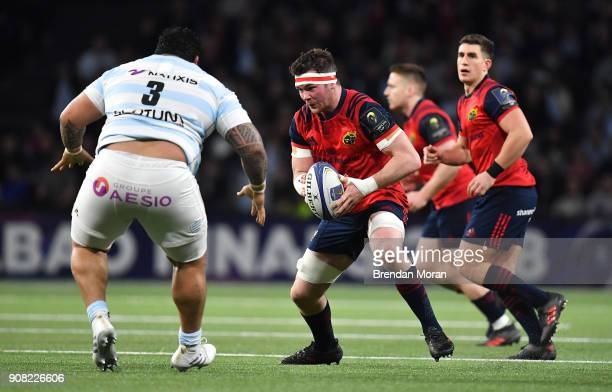 Paris France 14 January 2018 Peter OMahony of Munster in action against Ben Tameifuna of Racing 92 during the European Rugby Champions Cup Pool 4...