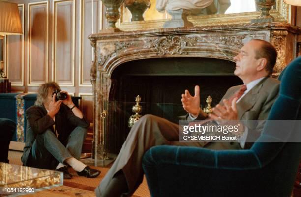 Paris France 17 avril 1995 Rendezvous avec Jacques CHIRAC à l'Hôtel de Ville de Paris Séance photo du candidat à l'élection présidentielle de mai...