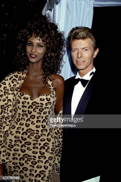 Paris France 17 September 1991 David Bowie with his wife Iman attend a soire in Paris in honour of the jeweller Bulgari