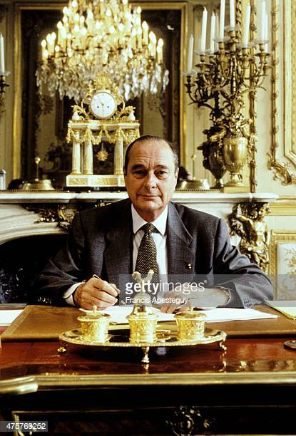 Paris France 1996 French President Jacques Chirac in the presidential office of the Elyse Palace the official residence of France's presidents