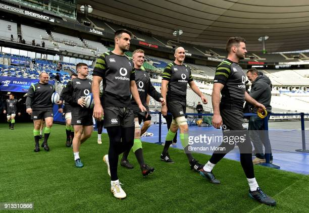Paris France 2 February 2018 Ireland players from left Rory Best Luke McGrath Conor Murray Dan Leavy Devin Toner and Fergus McFadden walk out for...