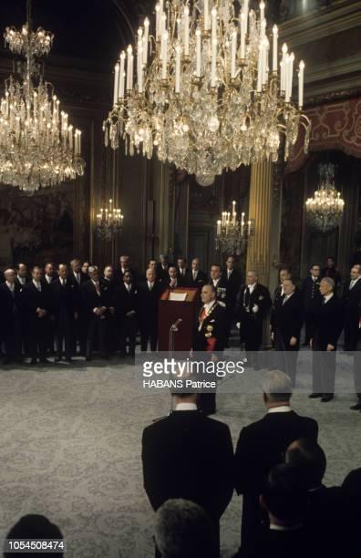 Paris France 20 juin 1969 Cérémonie d'investiture du nouveau président élu Georges POMPIDOU au palais de l'Elysée Proclamé président par Gaston...