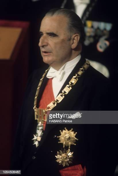 Paris France 20 juin 1969 Cérémonie d'investiture du nouveau président élu Georges POMPIDOU au palais de l'Elysée Portrait du président Georges...