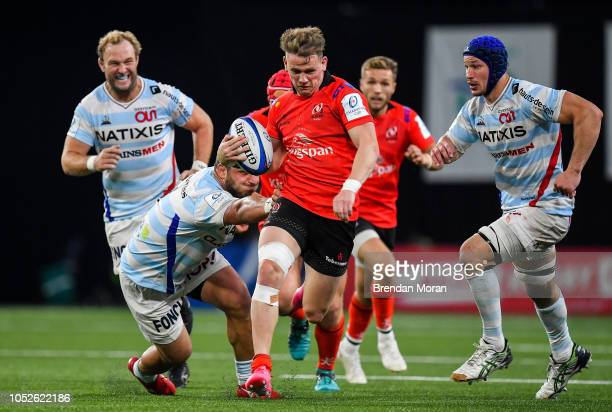 Paris France 20 October 2018 Craig Gilroy of Ulster is tackled by Guram Gogichashvili of Racing 92 during the Heineken Champions Cup Pool 4 Round 2...