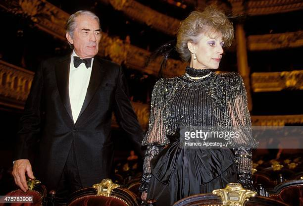 Paris France American actor Gregory Peck with wife Veronique Passani attends a gala at the Paris Opera House