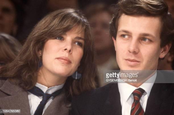 Paris, France, 23 janvier 1984 --- La princesse CAROLINE de Monaco et son mari Stefano CASIRAGHI assistent à la présentation de la collection haute...