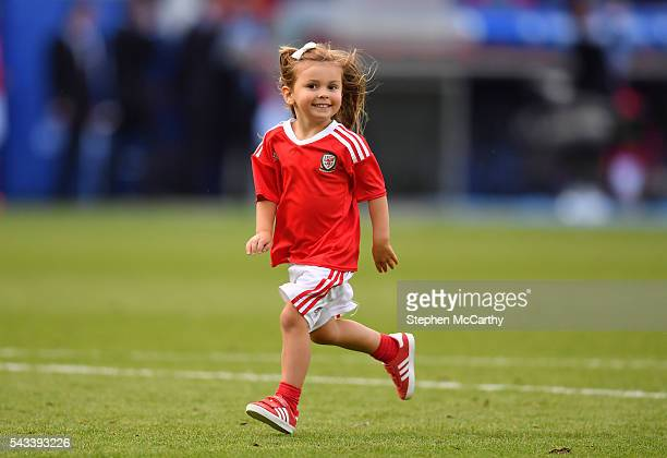 Paris France 25 June 2016 Alba Violet Bale daughter of Gareth Bale of Wales following the UEFA Euro 2016 Round of 16 match between Wales and Northern...