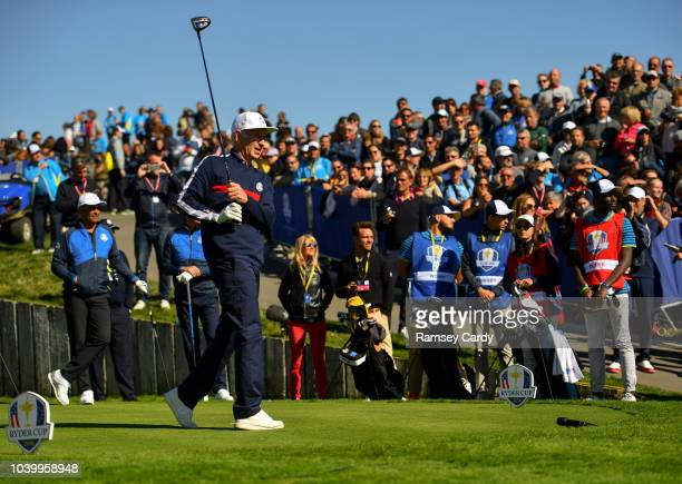 Paris France 25 September 2018 Former tennis player John McEnroe of USA tees off at the first tee box during the Celebrity Matches prior to the Ryder...
