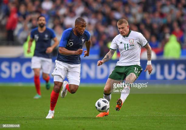 Paris France 28 May 2018 Djibril Sidibe of France in action against James McClean of Republic of Ireland during the International Friendly match...