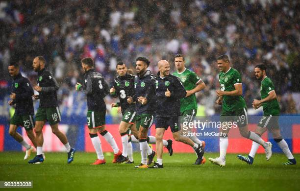Paris France 28 May 2018 Republic of Ireland head of fitness Dan Horan leads the players in their warm up prior to the International Friendly match...
