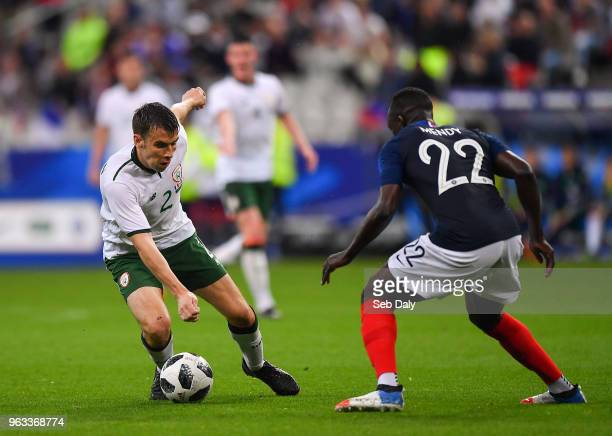 Paris France 28 May 2018 Seamus Coleman of Republic of Ireland in action against Benjamin Mendy of France during the International Friendly match...