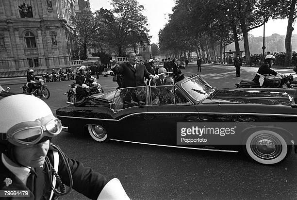 Paris France 29th October 1971 Soviet leader Leonid Brezhnev waves as he leaves the Paris Town Hall during his visit to France