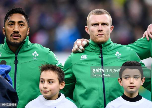 Paris France 3 February 2018 Bundee Aki left and Keith Earls of Ireland ahead of the NatWest Six Nations Rugby Championship match between France and...