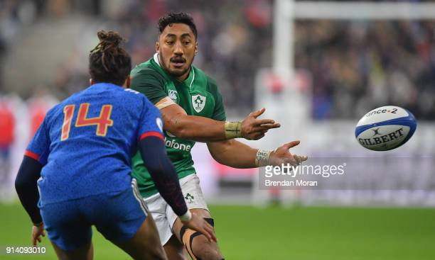 Paris France 3 February 2018 Bundee Aki of Ireland in action against Teddy Thomas of France during the NatWest Six Nations Rugby Championship match...