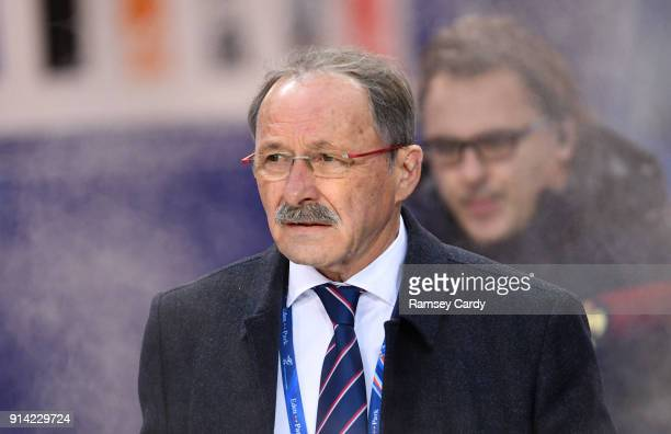 Paris France 3 February 2018 France head coach Jacques Brunel ahead of the NatWest Six Nations Rugby Championship match between France and Ireland at...