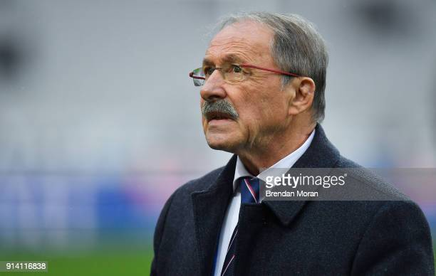 Paris France 3 February 2018 France head coach Jacques Brunel prior to the NatWest Six Nations Rugby Championship match between France and Ireland at...