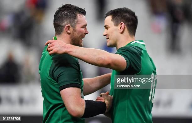 Paris France 3 February 2018 Jonathan Sexton right of Ireland celebrates with teammate Peter O'Mahony after the NatWest Six Nations Rugby...