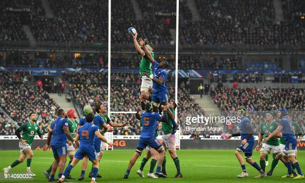 Paris France 3 February 2018 Peter O'Mahony of Ireland wins a lineout from Yacouba Camara of France during the NatWest Six Nations Rugby Championship...