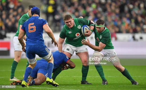 Paris France 3 February 2018 Tadhg Furlong of Ireland is tackled by Jefferson Poirot of France during the NatWest Six Nations Rugby Championship...